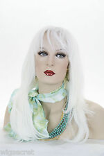 White Blonde Long Straight Skin Top Wigs