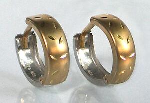375-ECHT-GOLD-Creolen-Ohrringe-bicolor-diamantiert-14-mm