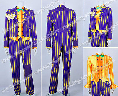Batman Cosplay Arkham Asylum Joker Costume Stripe Suit uniform Halloween Wear