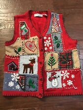 Ugly Christmas Sweater Vest Size Petite M Womens Red Victoria Jones
