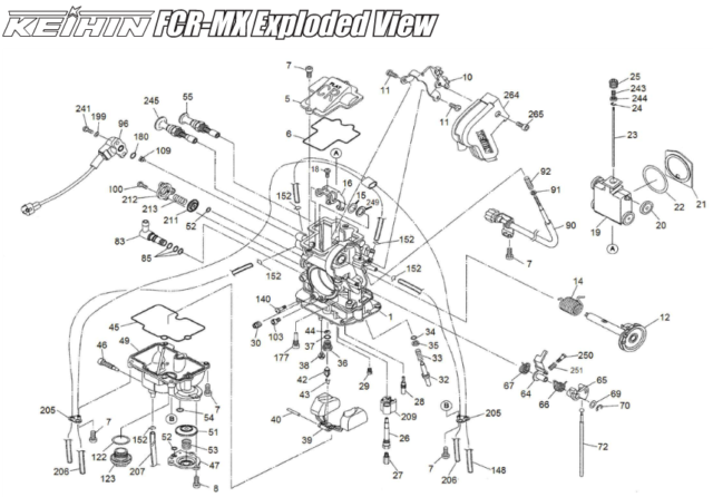 Keihin Fcr Mx Carburateur / Fcr-Mx Housse Acv (Air Coupe Valve) / Diagramme