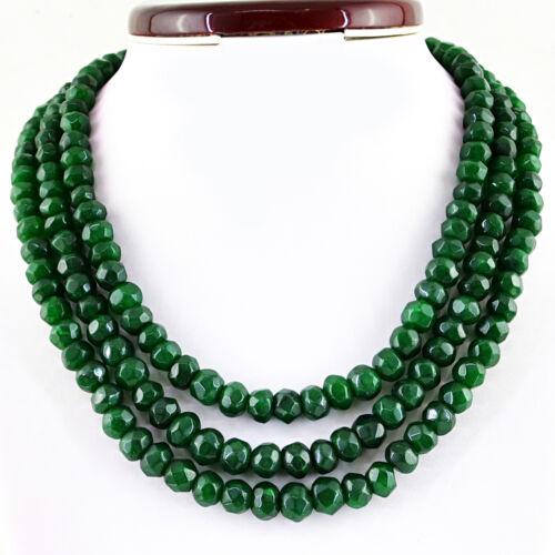 890.00 cts Earth mined vert émeraude ligne 3 forme ronde à facettes Perles Collier
