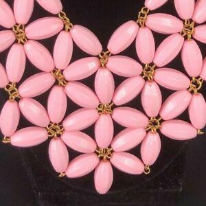 Vintage Statement Necklace Pretty Pink Flower Star Bib Choker or Adjustable CUTE