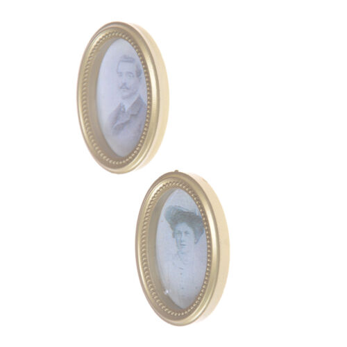2X//Set Dollhouse Miniature Victorian Gentleman Lady Picture Oval Photo FramBILU