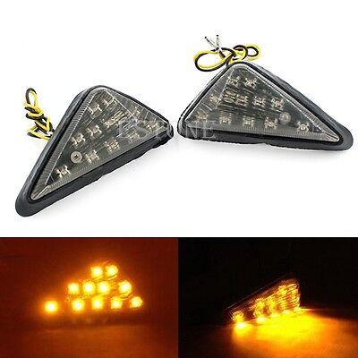 2x Universal Motorcycle Euro Triangle Flush Mount Turn Signal Amber LED Light