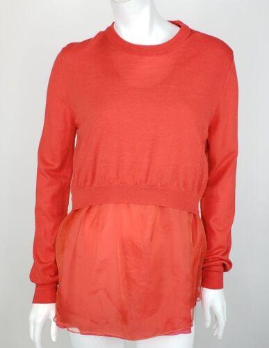 Acne Sweater Medium Red Orange Coral Cashmere Wool