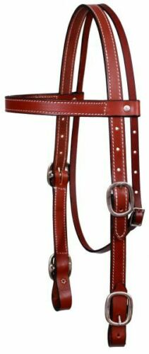 BURGUNDY BROWN Western Harness Leather Bridle Headstall Sm Draft Large Horse USA