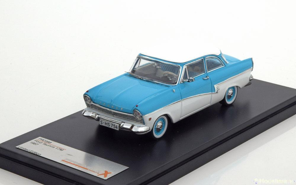 FORD TAUNUS 17M 1957 bleu blanc PREMIUM X PRD388 1 43 BLEU BLANC LHD