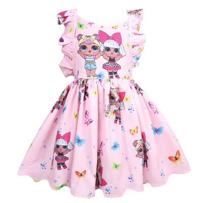 Kids Girls Backless Ruffles Dolls Party Princess Cartoon Print Birthday Dress