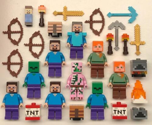 figures Zombie Pigman Steve Alex 9 Lego Minecraft Minifigs Lot
