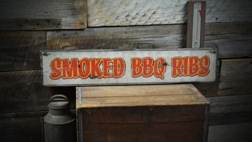 Vintage Smoked BBQ Ribs Wood Sign Rustic Hand Made Vintage Wooden ENS1000191