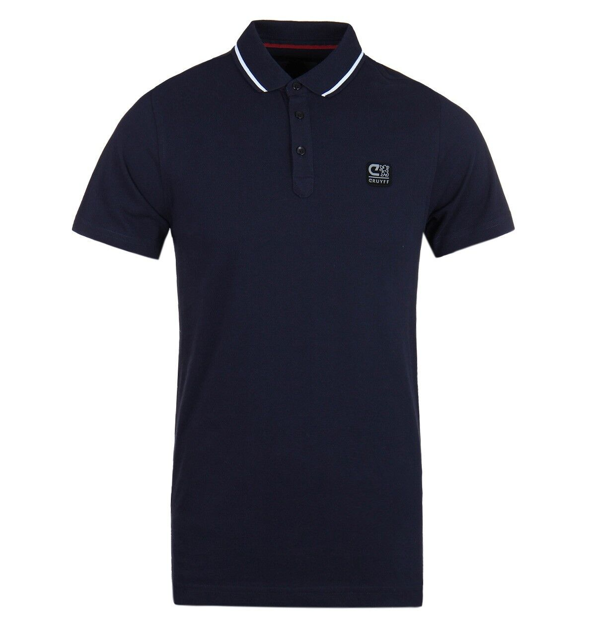 Cruyff Hans 3 Navy Tailored Fit Pique Short Sleeve Mens Polo Shirt