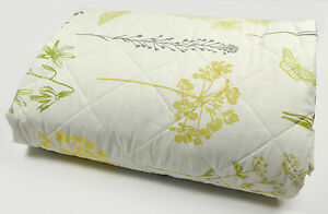Botanique-GREEN-Quilted-Double-Bedspread-Bedding-Floral-Flower-Grass-Butterfly