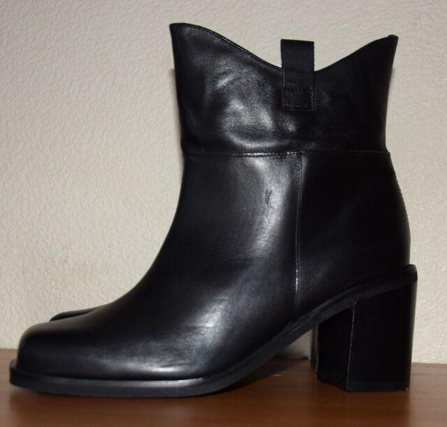 John Lewis Shanghai Leather Block Heels black Ankle Boots Size UK 8