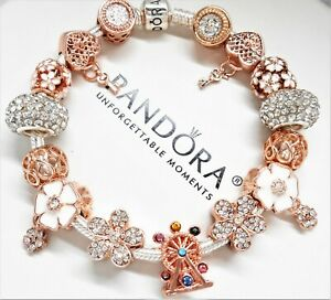 AUTHENTIC-PANDORA-SILVER-CHARM-BRACELET-ROSE-GOLD-LOVE-CRYSTAL-EUROPEAN-CHARMS