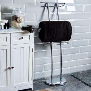 1efeca22a0ca1 Image is loading Three-Bar-Towel-Holder-Free-Standing-Chrome-Bathroom-