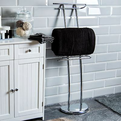 Three Bar Towel Holder Free Standing Chrome Bathroom Rail Bar By Home Discount
