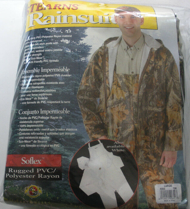 Stearns 8333RTX-L Sportsman Soflex Bibbed Two-Piece Camo Rainsuit Large 18829