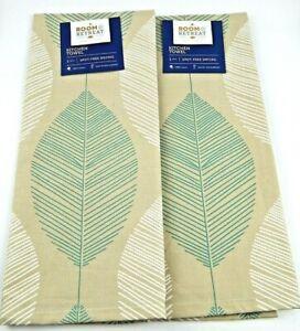 Room-Retreat-2-Kitchen-Dish-Towels-Cotton-Palm-Leaf-Print-Sage