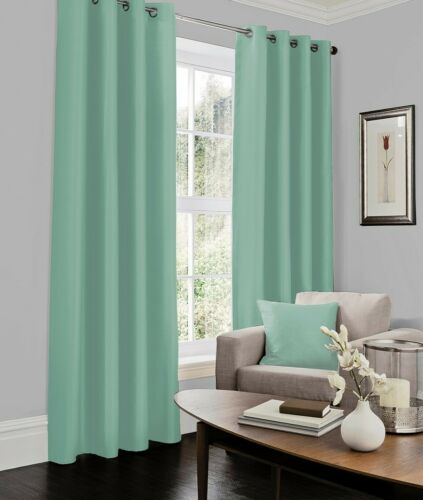 Luxury New Fully Lined Ready Made Faux Silk Eyelet Curtains Ring Top with 2 Ties