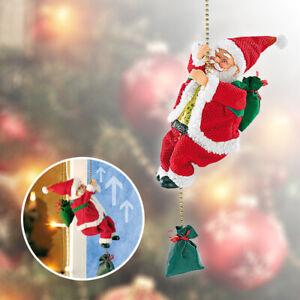 Pere-Noel-anime-sur-corde-avec-son-Decoration-de-Noel-Pere-Noel-interactif