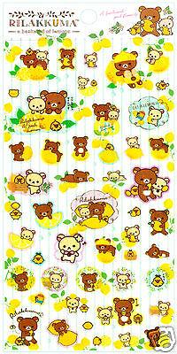San-x Rilakkuma Lemon Striped Kawaii Sticker Sheet