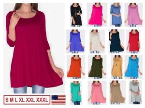 NEW-Womens-3-4-Sleeve-Tunic-Top-Dress-Round-Neck-Blouse-USA-S-M-L-XL-Plus-2X-3X