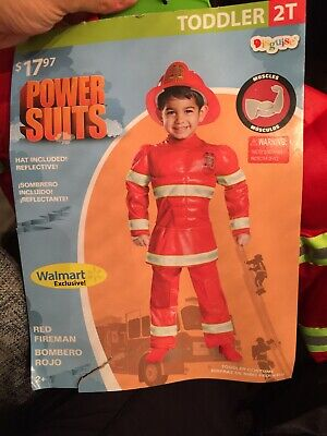 boys 2T Red Fireman Toddler Muscle Halloween Costume