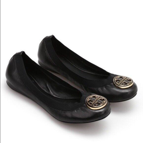 NIB Tory Burch Caroline Mestico Elastic Black Leather Ballet Flats size 6 & 6.5