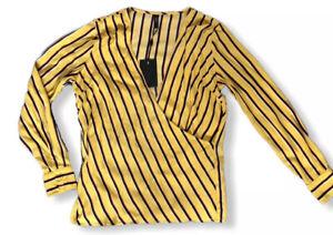 Y-A-S-Yellow-Stripe-Blouse-Wrap-Top-UK-10-V-Encolure-manches-longues