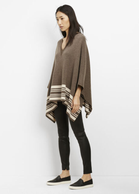 V524 NWT VINCE WOOL CASHMERE BORDER STRIPE WOMEN PONCHO SWEATER SIZE XS/S $425