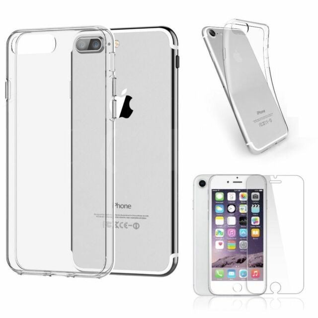 info for 7752a 3c278 for Apple iPhone 8 Plus Clear GEL Case Cover and Tempered Glass Screen  Protector