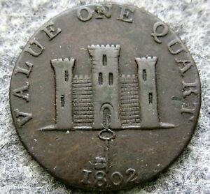 GIBRALTAR-1802-1-Quart-Robert-Keeling-TOKEN-COPPER-HIGH-GRADE