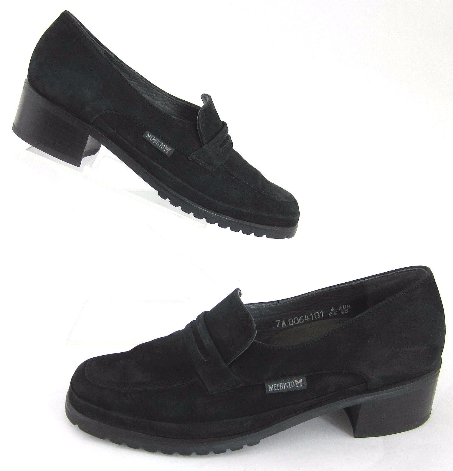 Mephisto Womens Moc Toe Low Heel Loafers Black Suede Sz 6.5