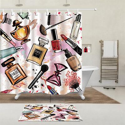 Fashion Cosmetic Waterproof Shower Curtain Mat Set Sheer Home Bathroom Decor