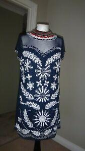 Joanna-Hope-Navy-Tulle-Tunic-Dress-Size-UK-16-Heavily-Ivory-Sequins-amp-Beaded