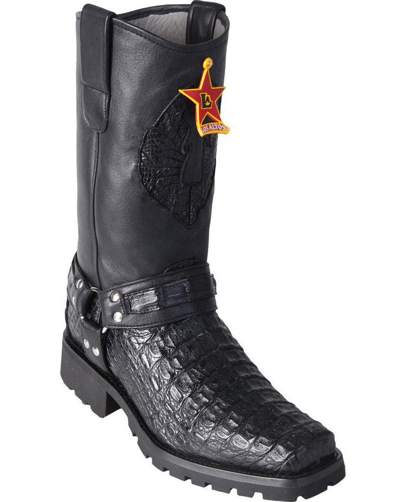 Los Altos negro Smooth Caiman Crocodile Motorcycle botas Square Toe Biker EE+