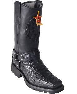 Los Altos Teen Krokodil Vierkante Smooth Caiman Motorlaarzen Ee Biker Black T1JFlc3K