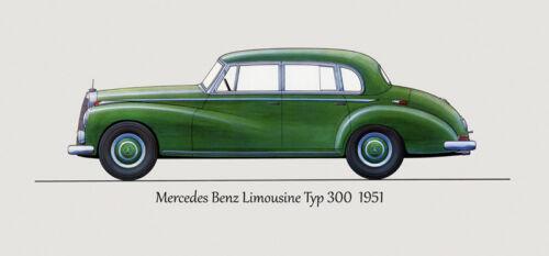 1951 Mercedes Benz Limousine Typ 300 Automobile Car Vintage Poster Repro FREE SH