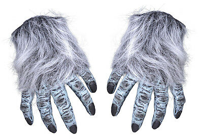 ADULT GREY WEREWOLF WOLF CREATURE FURRY GLOVES HANDS FANCY DRESS COSTUME NEW