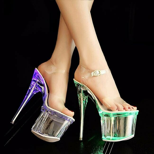 16acd133880 Perfect for fashion events - LED Light-Up Clear Platform Stiletto ...