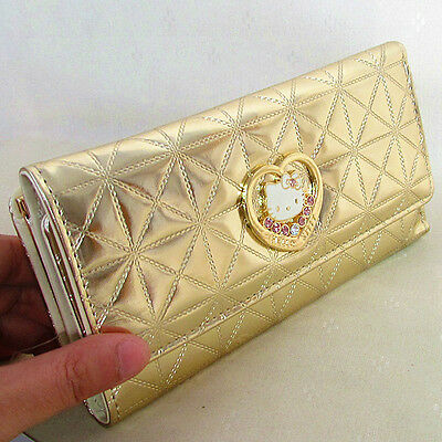HelloKitty Hasp Crystals  Wallet Purse 2016  New Cute Pu Gold  Long Size