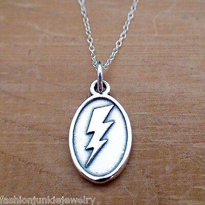 Lightning Bolt Pendant Necklace - 925 Sterling Silver - Flash Charm Thunder NEW