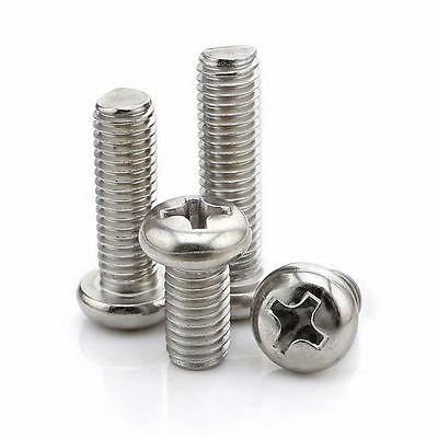 100X M1 M1.2 M1.6 Round Pan Head Phillips Screw304 Stainless Steel Machine Screw
