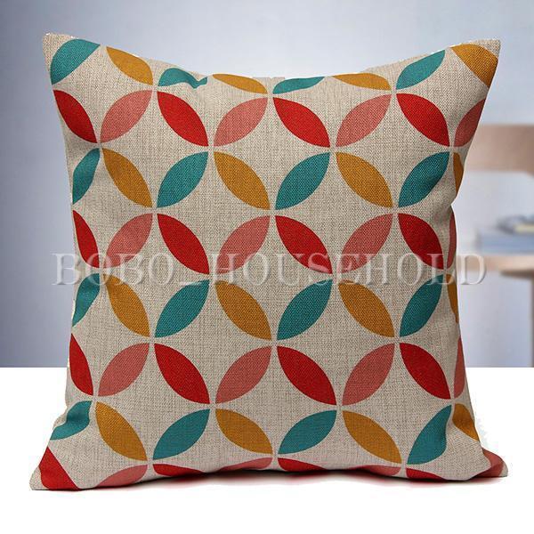 Vintage Home Decor Cotton Linen Pillow Case Sofa Waist Throw Cushion Cover