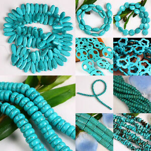 Howlite-Turquoise-Gemstone-Teardrop-Flower-Oval-Round-Coin-Rectangle-Loose-Beads