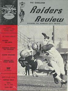 OAKLAND RAIDERS VS. KANSAS CITY CHIEFS - Aug 9.1964 PROGRAM