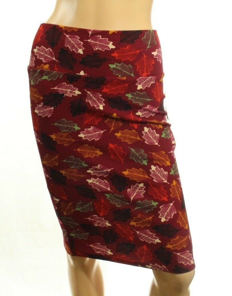LuLaRoe Cassie Red Leaves Pencil Skirt Stretch Size XS