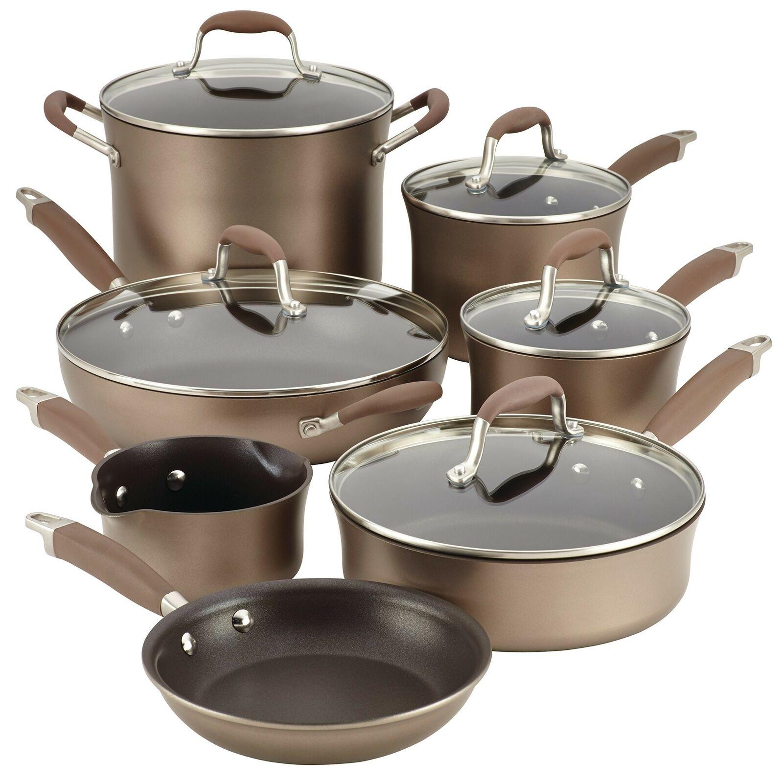Anolon 12-Pièce Advanced dur anodisé Poêlon Cookware Set, bronze