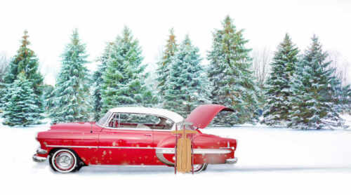 VINTAGE RED CAR /& SLED HOLIDAY WINTER FOREST LANDSCAPE POSTER 20x36 9 MIL PAPER